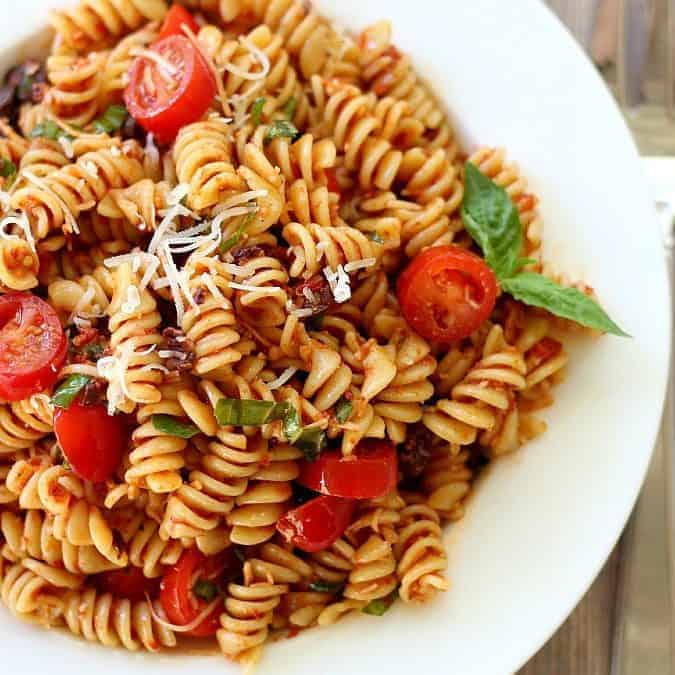 Pasta Salad with Sun-Dried Tomatoes, Basil and Parmesan