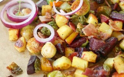 Roasted Root Vegetables with Brussels Sprouts and Bacon