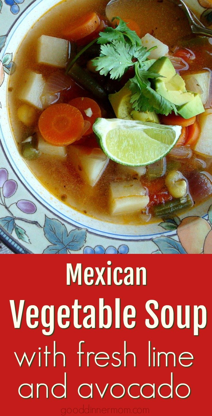 Mexican vegetable soup recipe is quick and healthy. Loaded with fresh vegetables, creamy avocado and a squeeze of fresh lime.