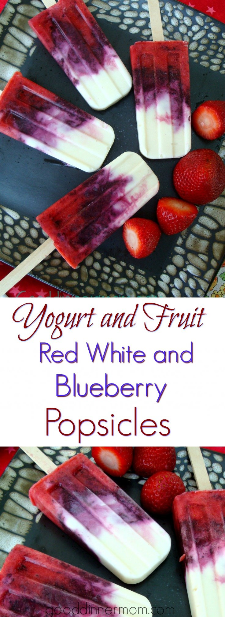 Fresh strawberries, blueberries and yogurt combine with a touch of honey for sweetness. Delicious and healthy red, white and blueberry popsicles.