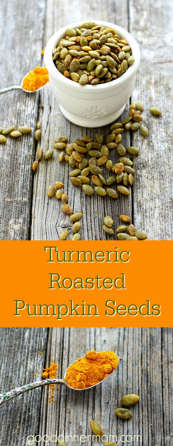 Turmeric Roasted Pumpkin Seeds. Start to finish in less than 10 minutes. Excellent in salads, over vegetables, or eat out of hand.