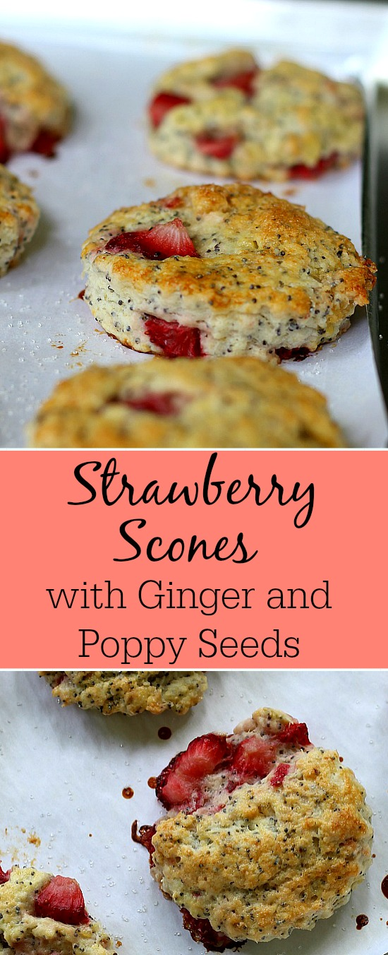 This is one easy scone recipe. Strawberries, crystallized ginger and poppy seeds, these scones look beautiful and will be loved by all.