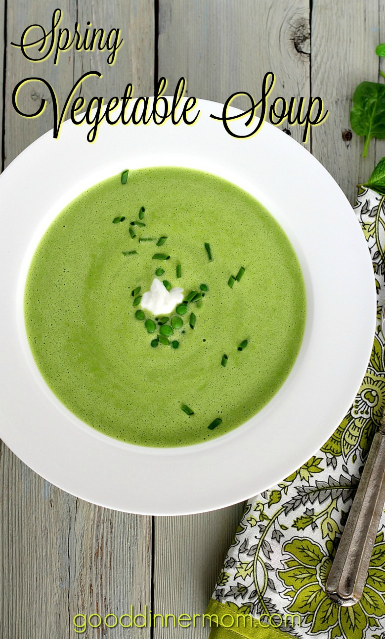 Spring Vegetable Soup is delicious served cold or warm, anytime of year. Thanks to using frozen peas and fresh spinach. Ready in 15 minutes.