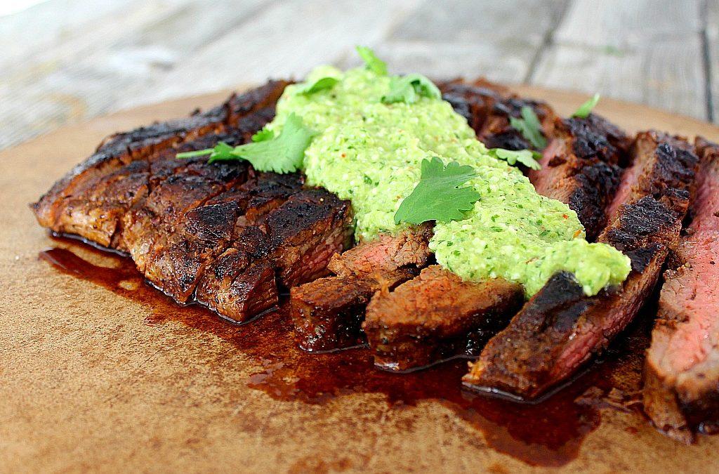 Flank Steak with Espresso Rub and Green Chile Pesto