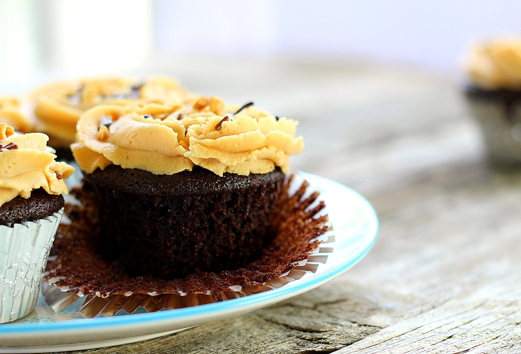 Chocolate Coca-Cola Cupcakes with Peanut Butter Buttercream Frosting are quick and easy, with intense chocolate and peanut butter flavor.