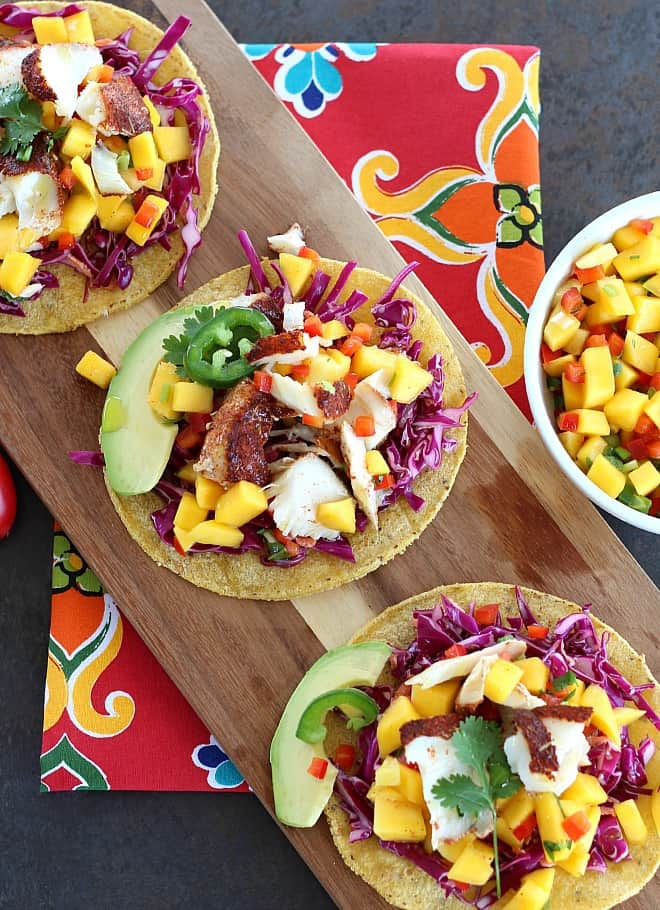 Blackened Fish Tacos with Fresh Mango Salsa