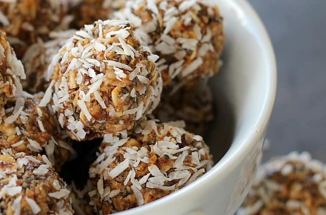 Nutty chia energy bites are naturally low in sugar with perfect ingredients for a quick pick-me-up or sweet tooth tamer.