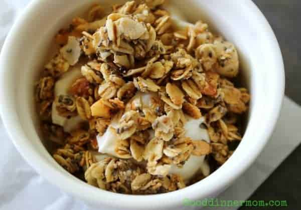 Chai Chia Granola uses a combination of cinnamon, cardamom, ginger, nutmeg and allspice. These spices compliment the oats, chia seeds, coconut and almonds for one of the best granola recipes you'll ever make.