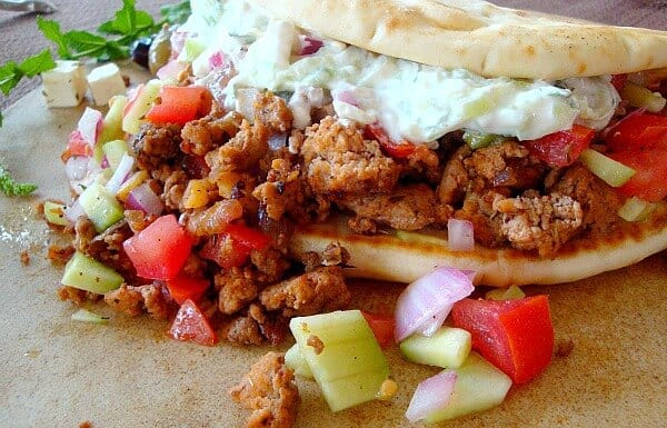 Big Fat Greek Tacos will please every appetite, ground meat seasoned perfectly and served with tomato and cucumber relish with mint tzatziki.