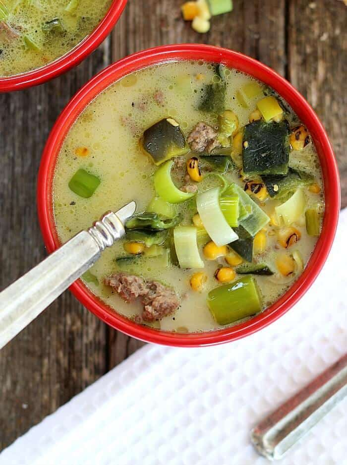 Roasted Poblano Soup is easy to make and tastes like it simmered for hours. Sweet corn, ground beef and a touch of cream make this a satisfying meal.