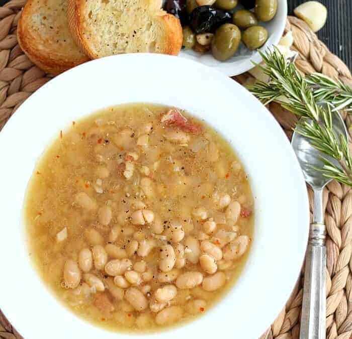 Tuscan White Bean Soup in the Slow Cooker