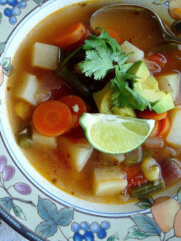 Mexican Vegetable Soup recipe with Lime and Avocado