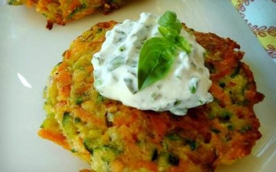 Carrot and Zucchini Pancakes with Basil Chive Cream
