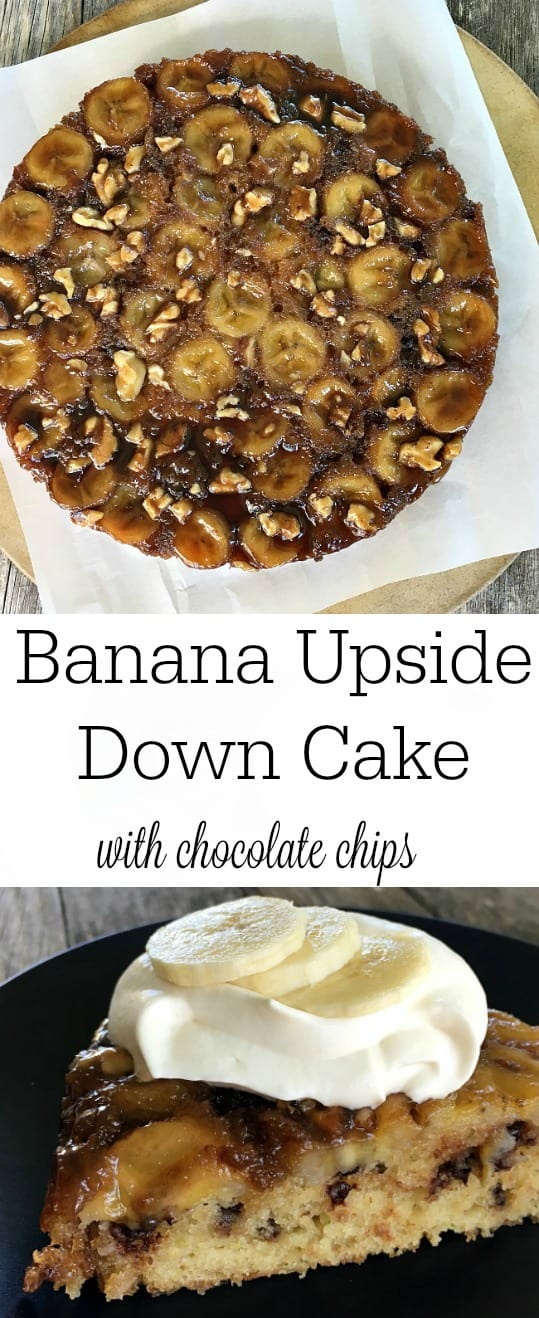 Banana Upside Down Cake is gooey and caramel-delicious. Buttermilk and grated zucchini add moist texture and chocolate chips add decadence.