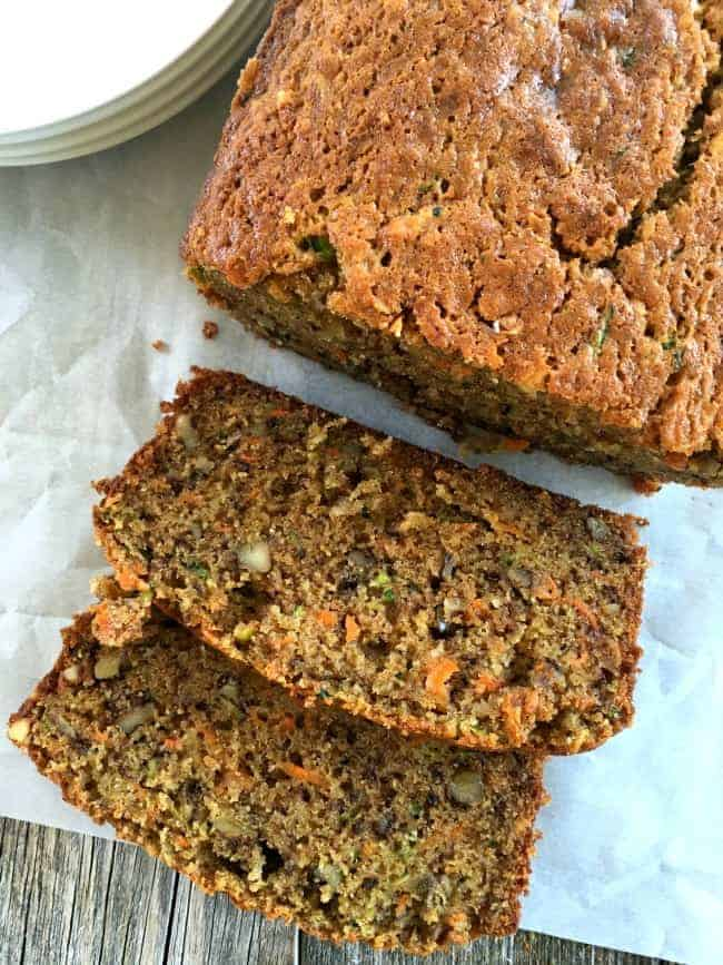 Zucchini Carrot Banana Bread is the best quickbread you'll ever make, truly. Incredibly moist and flavorful. The carrots and zucchini are fabulous together.