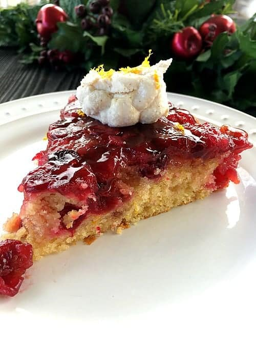 Cranberry Upside Down Cake with Ricotta Cream