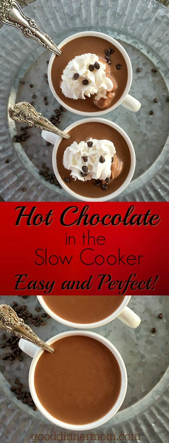 Hot chocolate made in your slow cooker is simple yet amazing. Add peanut butter for that classic peanut butter cup flavor, or make it spicy, or minty. You'll make it no other way once you try this.
