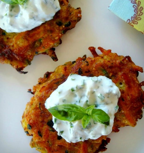 Carrot and Zucchini Vegetable Pancakes with Basil Chive Cream