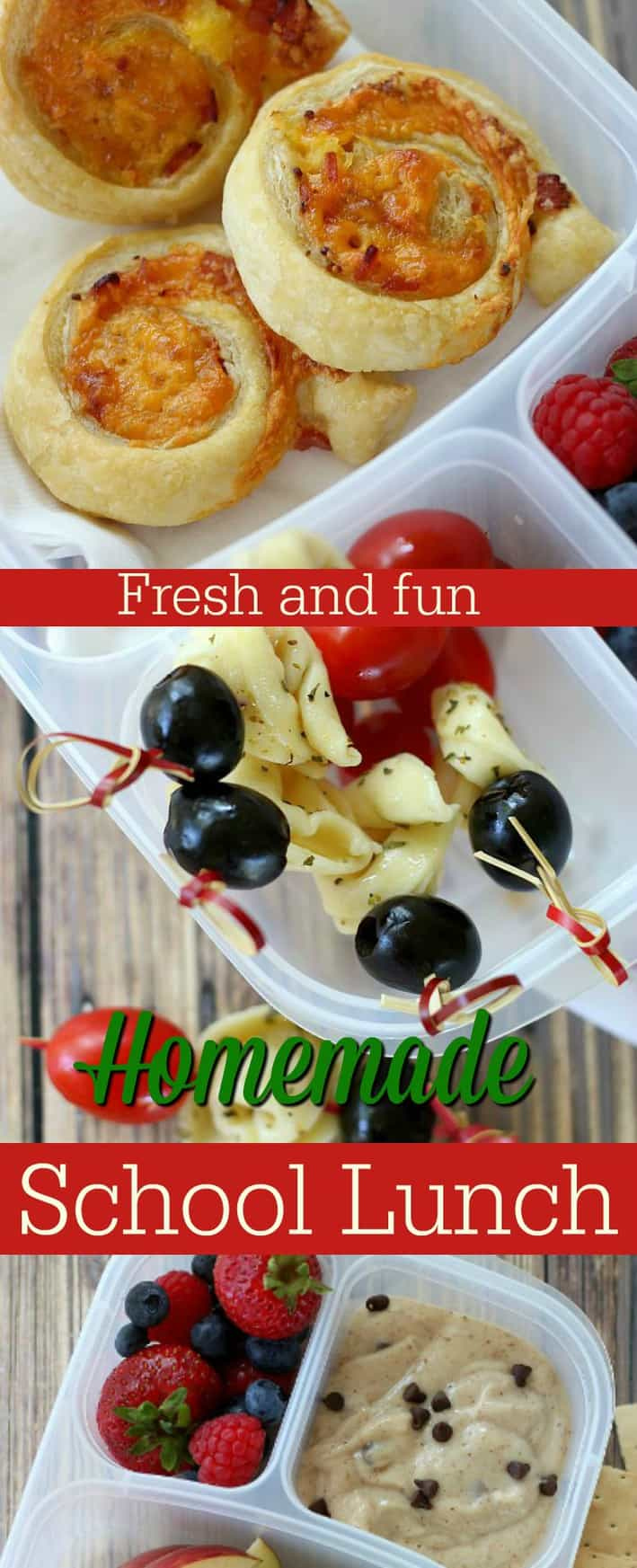 Collection of ideas for yummy (and easy) homemade school lunches. #schoollunch #snacks #kidslunch
