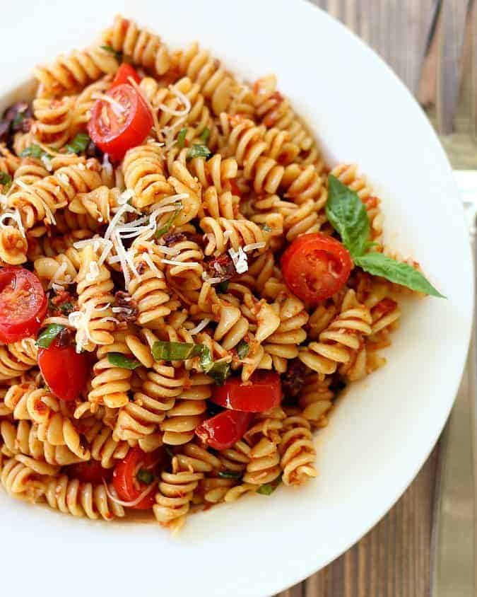 Pasta Salad with Sun-Dried Tomates, Basil and Parmesan Cheese