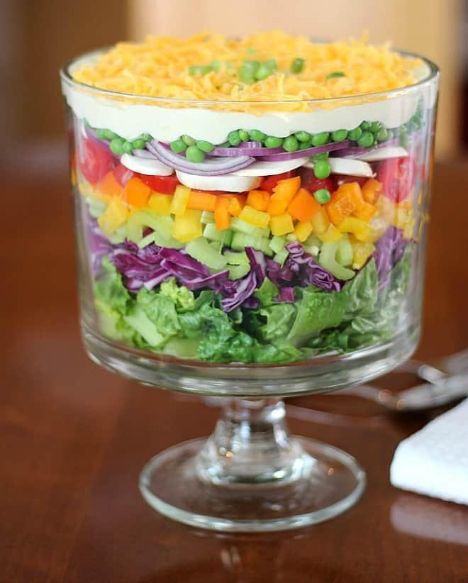 layered salad good dinner mom