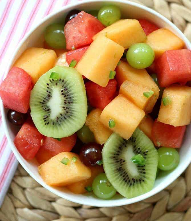 Fruit Salad Medley with a fresh dressing of citrus, honey and jalapeno peppers.