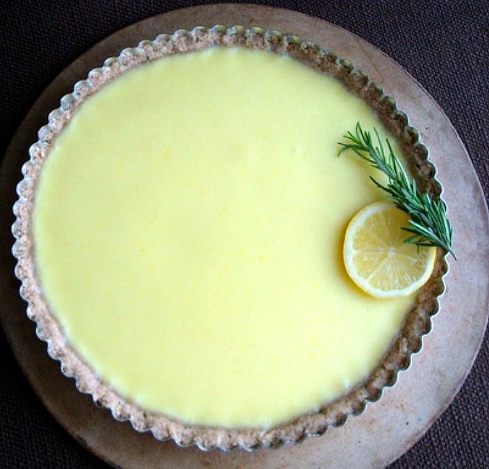 Lemon Tart with Rosemary Crust, Easter Dessert, Low sugar tart
