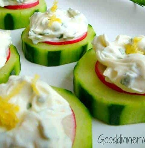 Cucumber slices with herbed mint cream cheese and lime zest