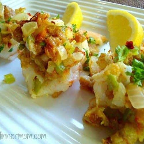 Shrimp with crab stuffing and lemons