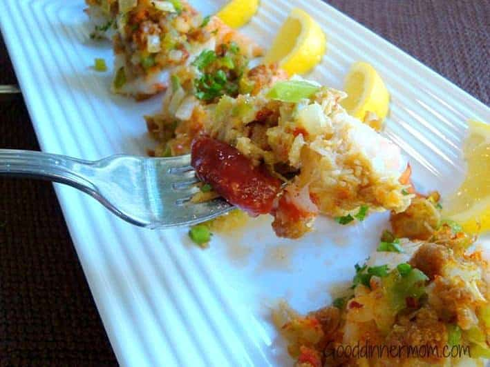 Shrimp with crab stuffing and cocktail sauce