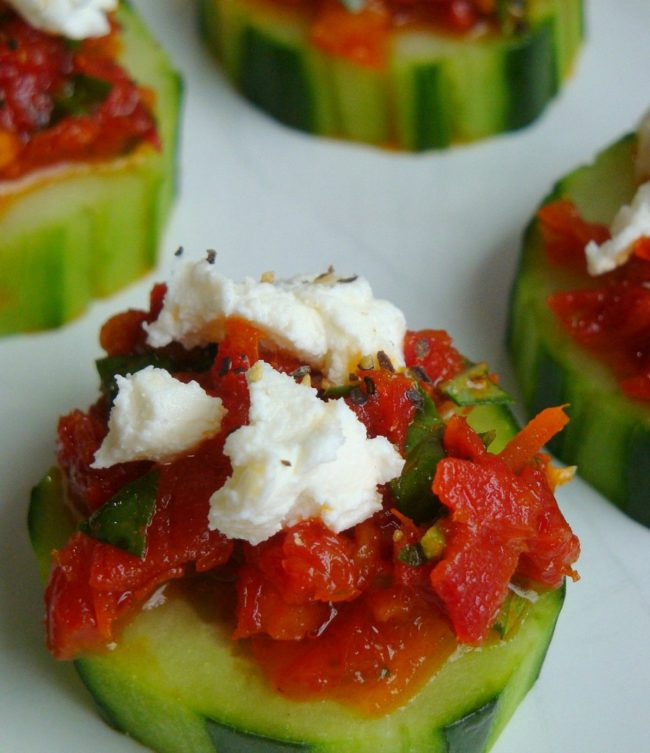 Sun Dried Tomatoes with Feta Cucumbers