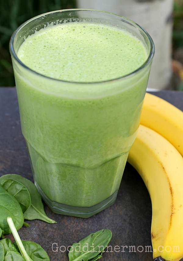 Green Banana Smoothie with simple ingredients. Bananas, spinach, milk and ice make a super nutritious, filling smoothie that kids and adults will love.