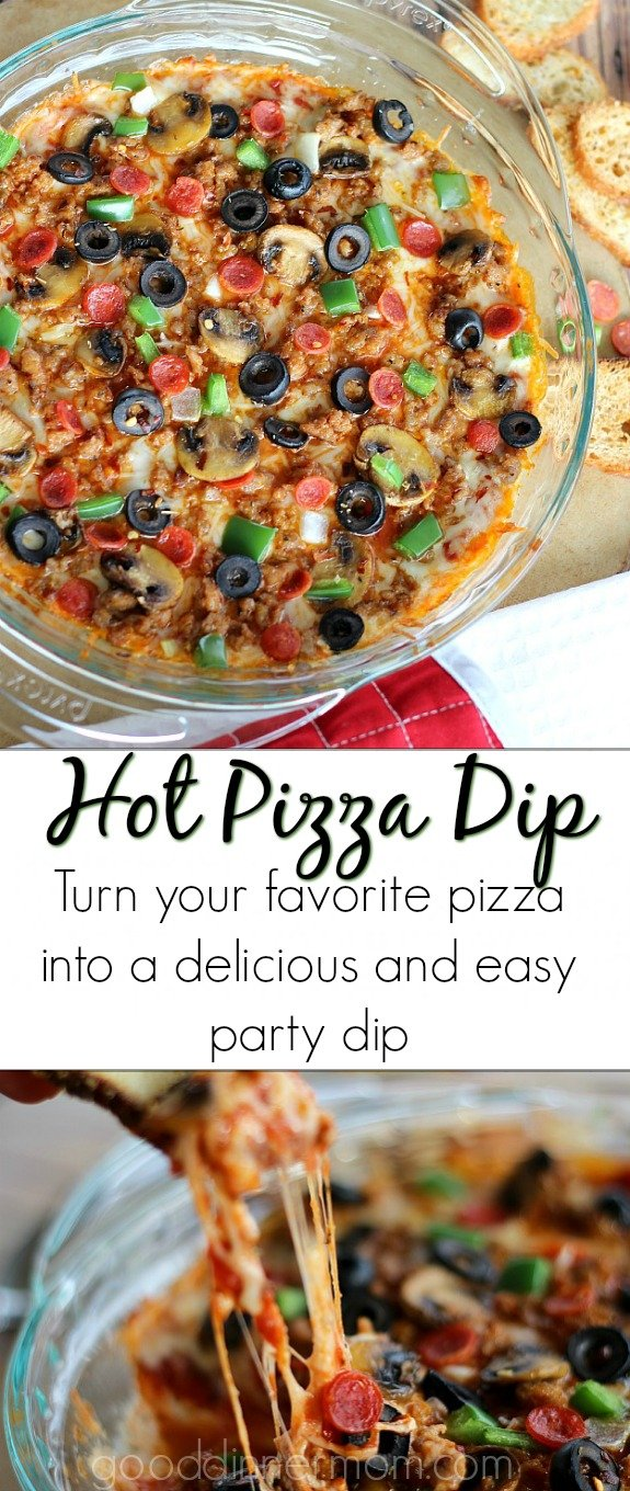 Hot Pizza Dip Recipe. This will be THE hit at the appetizer table. #pizza #appetizers #footballfood #dip