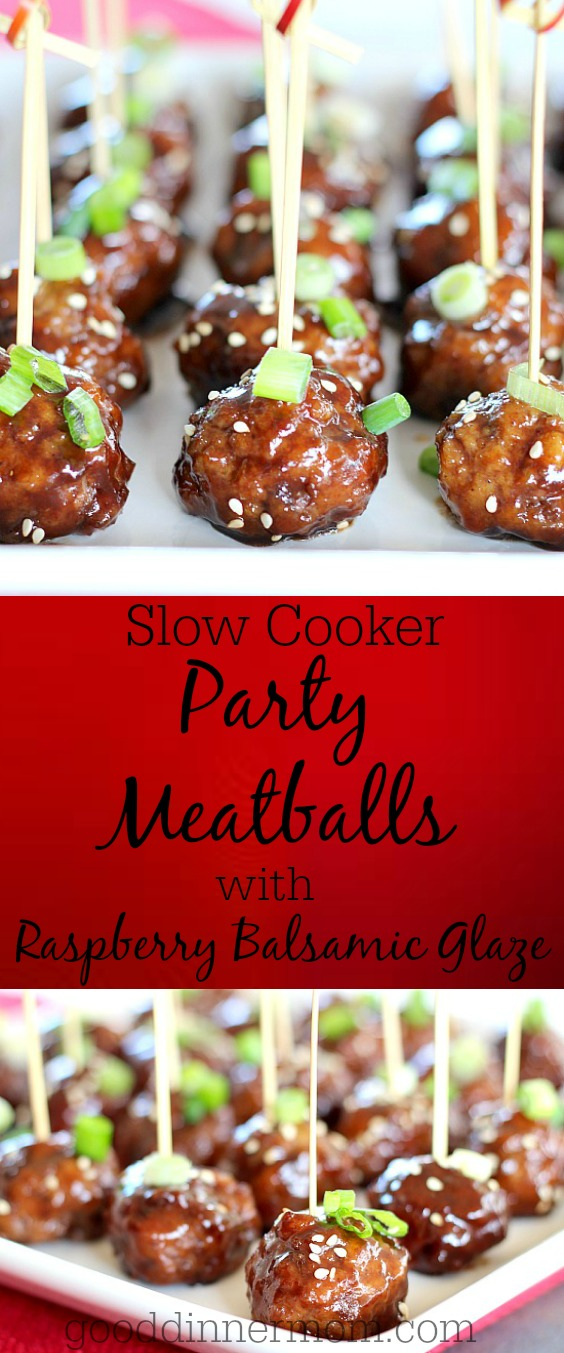Slow Cooker Party Meatballs in Raspberry Balsamic Glaze are easy and flavorful. Included is a simple recipe for basic meatballs, or use packaged, frozen.