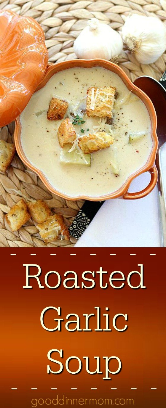 Roasted Garlic Soup is smooth and delicious. Serve with Parmesan crisps.