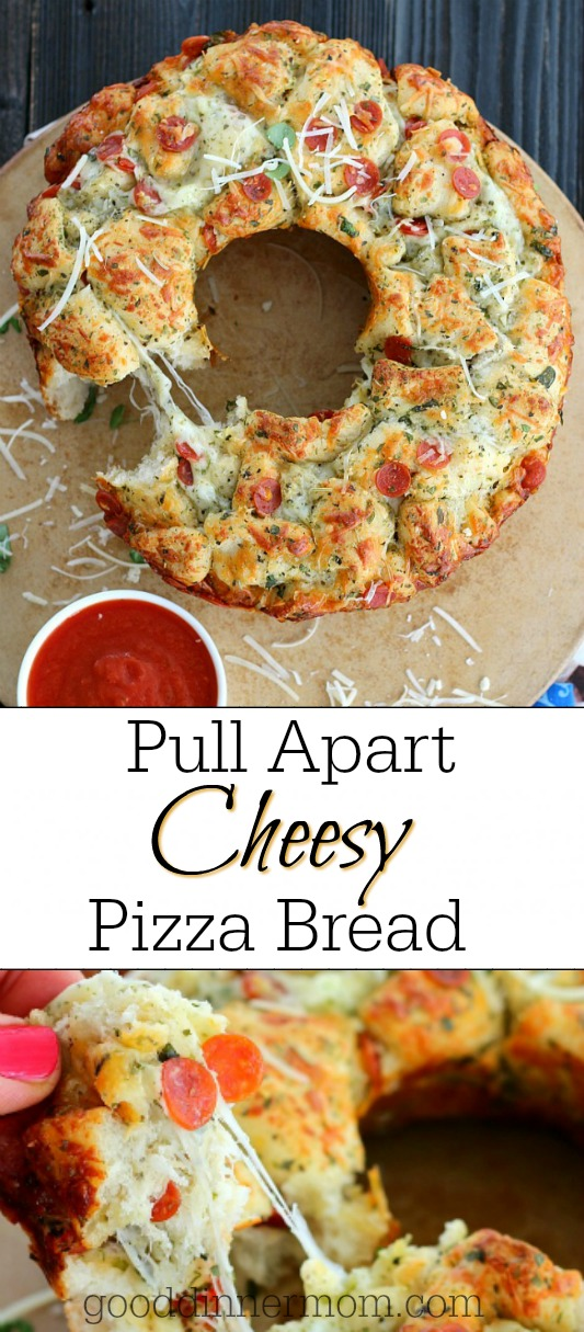 Here's a sure hit for your next party. Pull Apart Pizza Bread is ready in 30 minutes and is a fun alternative to take out pizza. #pizza #pullapart #partyfood #monkeybread