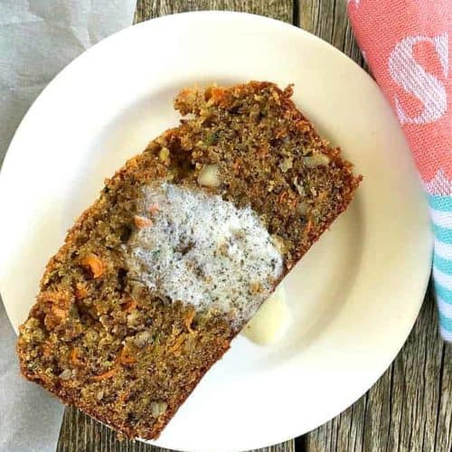 Carrot Zucchini Bread with melted butter
