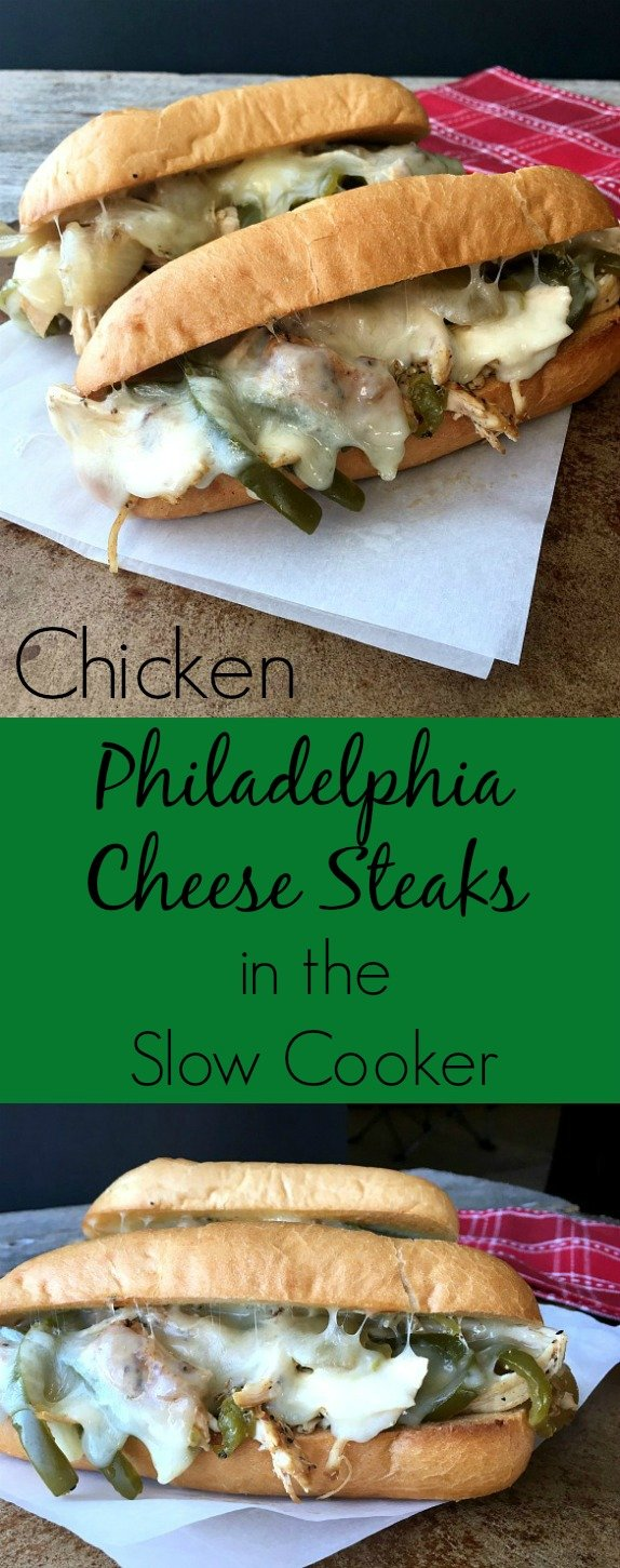 Chicken Philadelphia Cheese Steaks in the slow cooker come out juicy and tender. Top with provolone cheese and favorite spread.