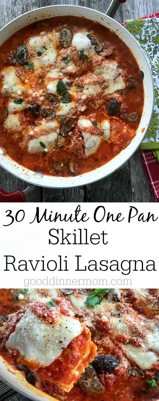 Skillet Ravioli Lasagna comes together in 30 minutes with slow-baked, hearty flavor. Vegetarian version and instructions for adding meat.