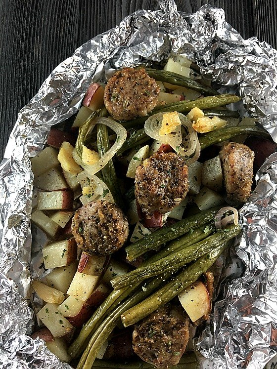 Foil wrapped dinner can be made in your oven, outside on the grill, or directly over coals. The flavors come together perfectly and cleanup is a breeze.