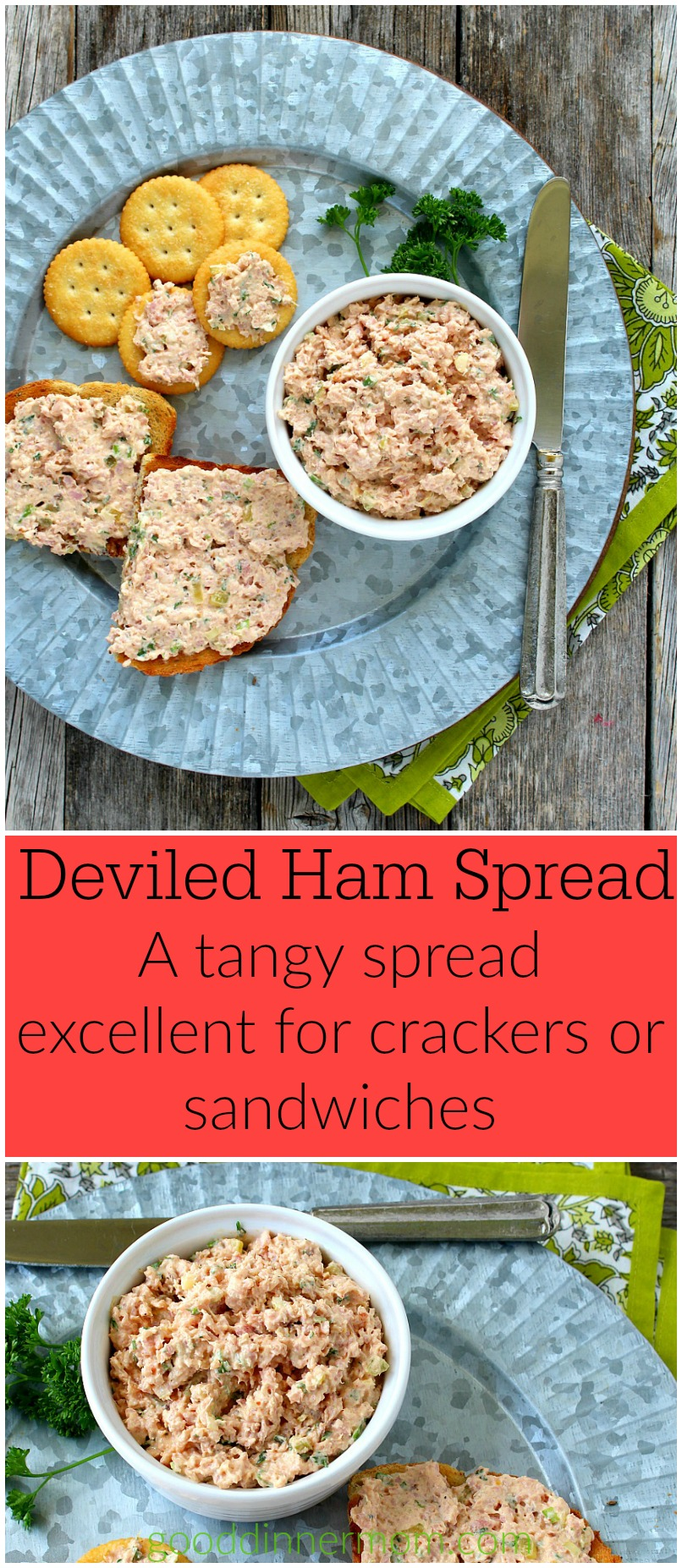 A fresh take on deviled ham. Better than anything out of a can and ready in just ten minutes.