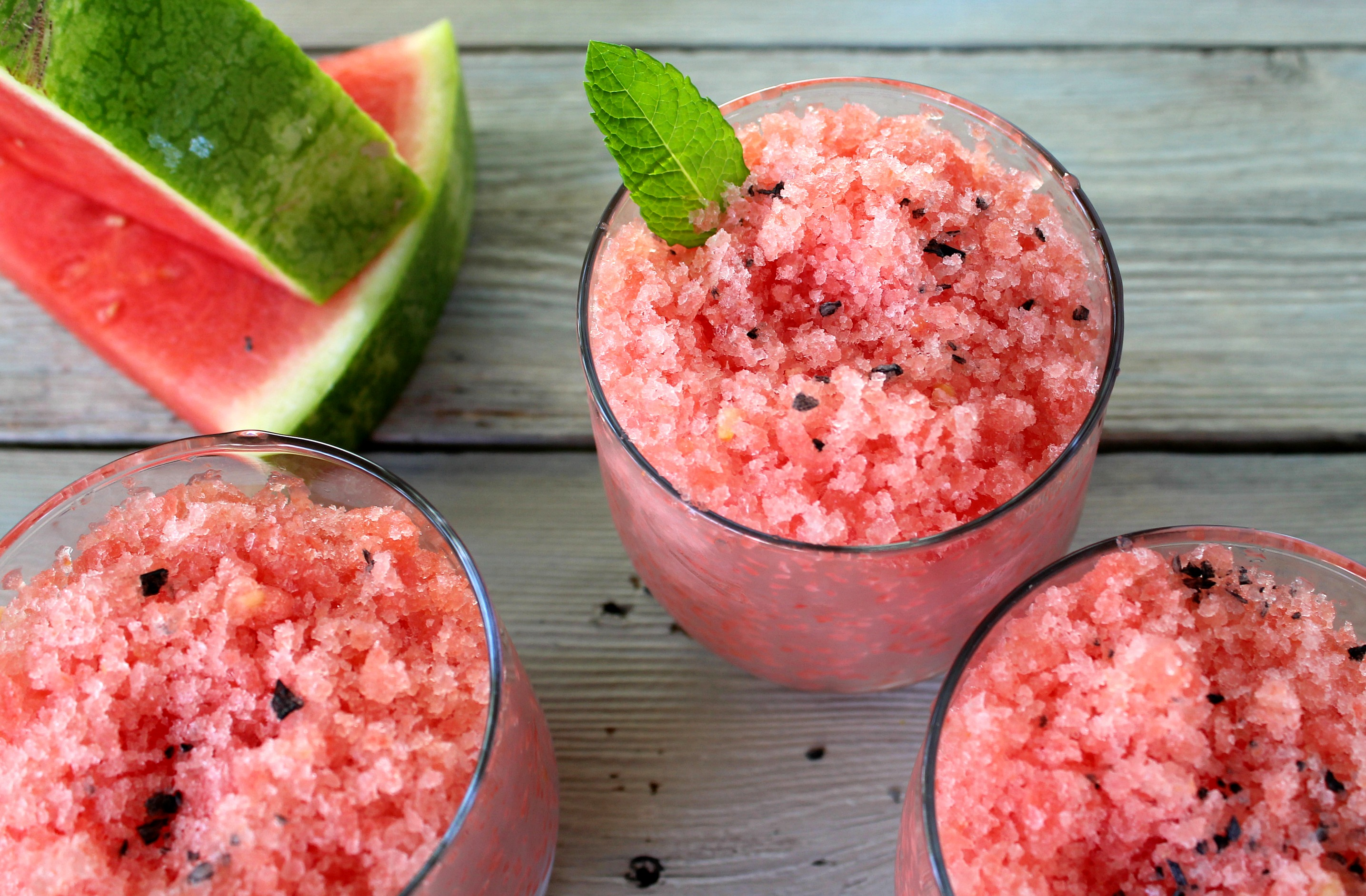 Watermelon Granita with Black Lava Salt is a simple addition to any barbecue or summer party. Easy to make, just a few hours in the freezer.