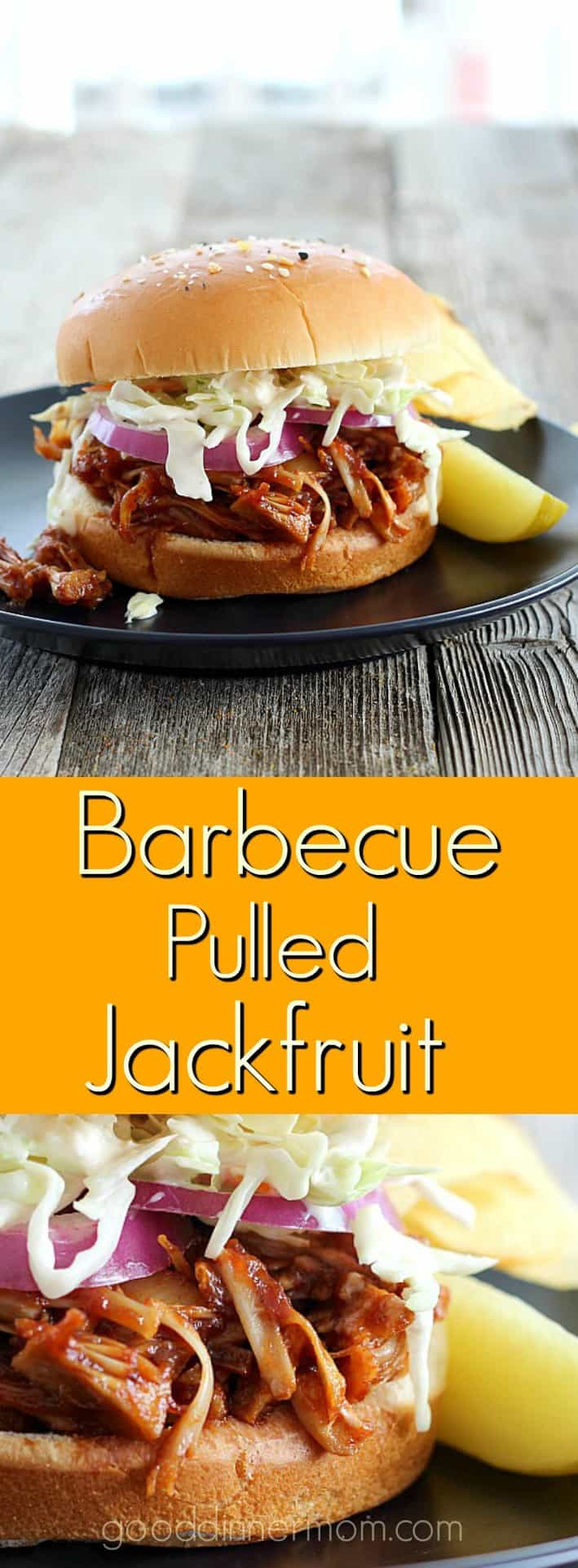 Barbecue Pulled Jackfruit is super fast, delicious, and significantly lower in calories than pulled pork shoulder. #jackfruit #BBQsandwich