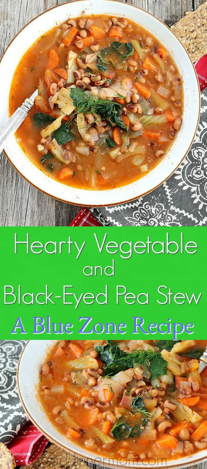 Hearty Vegetable and Black-eyed Pea Stew is simple, yet delicious! One pot, packed with protein and flavor.