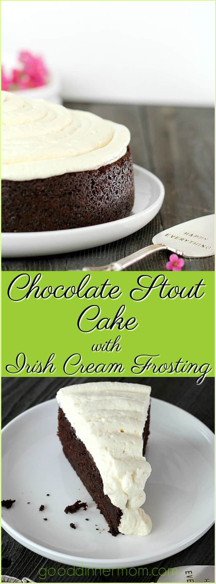 Chocolate Stout Cake with Irish Cream Frosting tastes impressive and rich, yet fresh and irresistible. One bowl recipe with cupcake and high altitude directions as well as non alcoholic instruction.