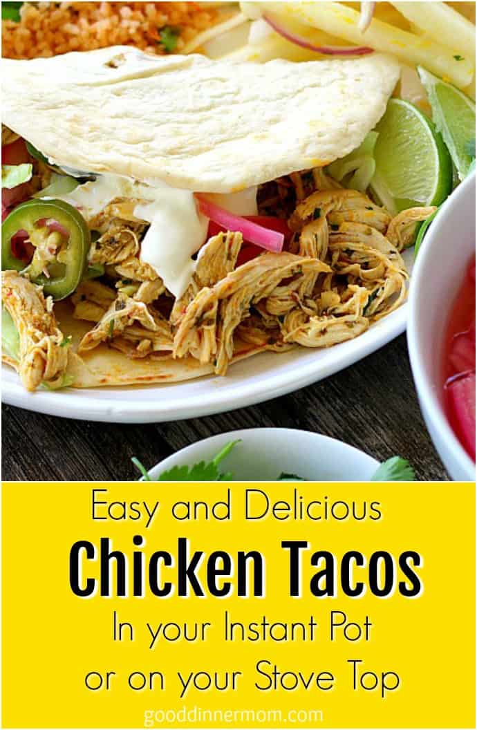 chicken tacos on a white plate with flour tortillas pinterest pin