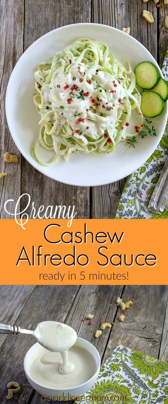 A creamy, dreamy, low calorie and dairy-free Alfredo sauce that's ready in 5 minutes. Perfect over pasta or vegetables. #dairy-free #vegan #paleo #keto