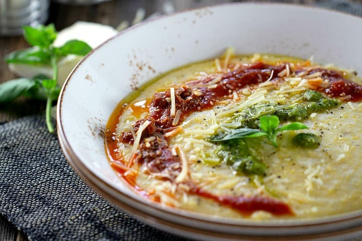 Polenta with marinara and pesto sauce