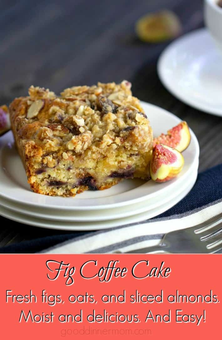 Fig Coffee Cake is moist and melt-in-your-mouth delicious. Fresh figs, oats, and sliced almonds make a coffee cake with streusel topping you will love. #figs #coffeecake #baking