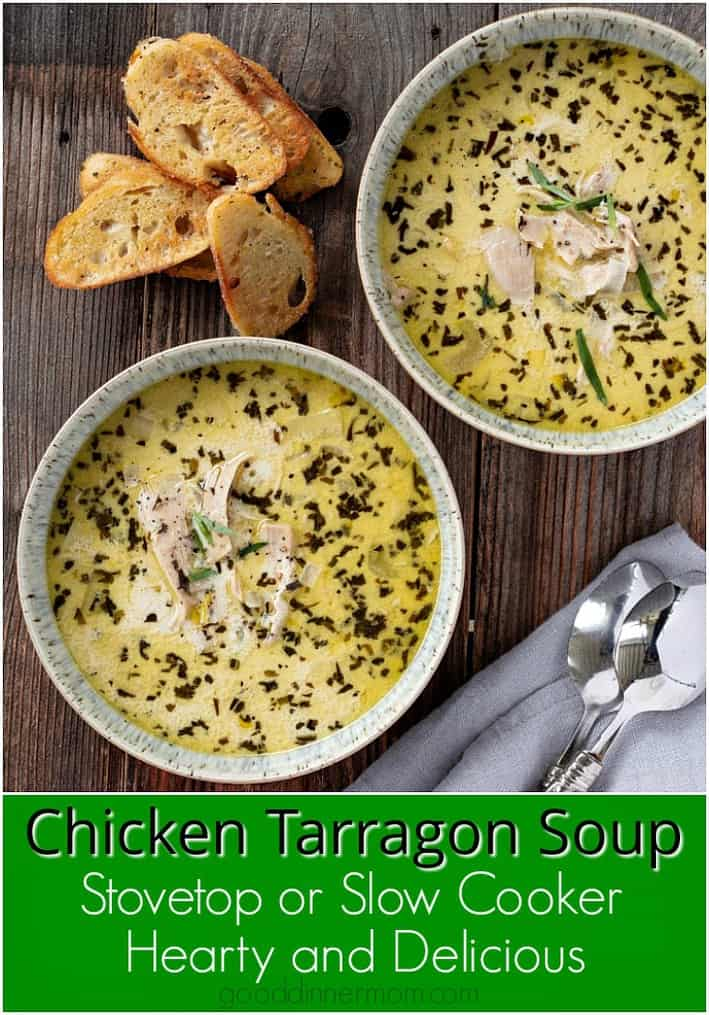 Chicken Tarragon Soup is satisfying with brightness from the tarragon, creaminess from the broth. The chicken cooks to tender perfection. #tarragon #soup #chickensoup #onepotmeal #dinnerrecipes